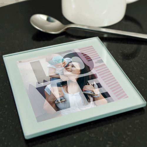 personalised LOVE Silver Glass Photo Coaster