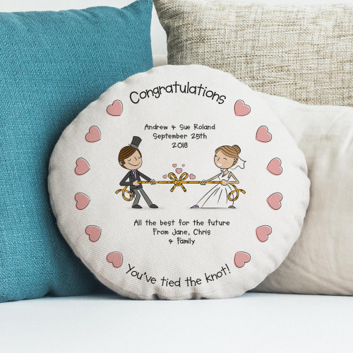 personalised Tied the Knot Round Cushion 18""