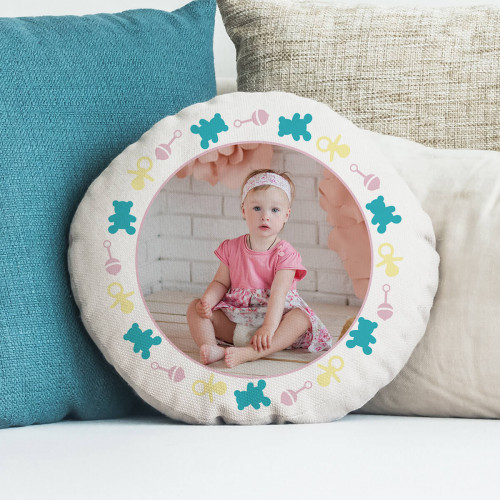 personalised Baby Girl Pink Round Photo Cushion 18""