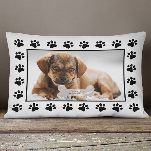 personalised Dog Paw Rectangle Photo Cushion