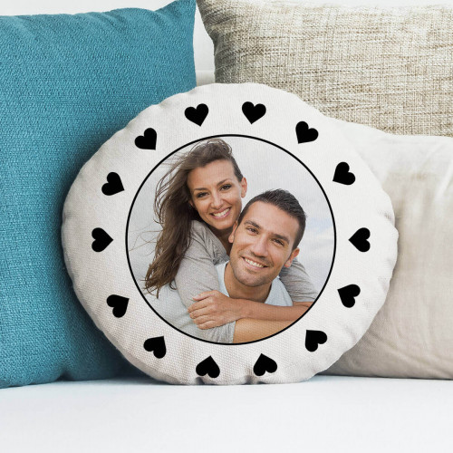 personalised heart frame round cushion