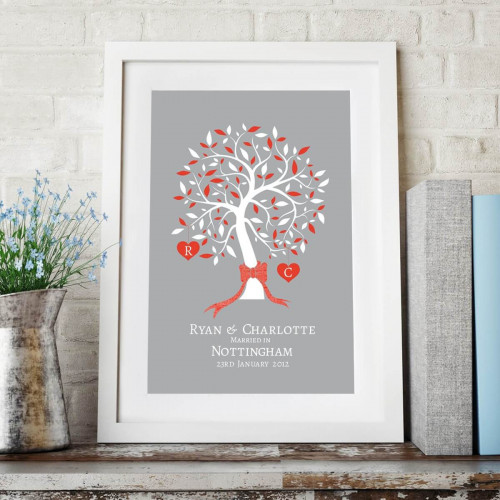 personalised Marriage Tree Initials Wall Art