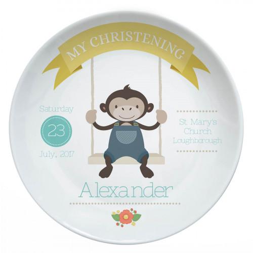 monkey christening plate