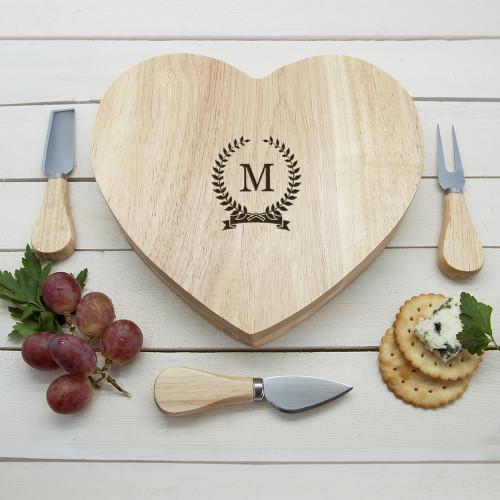 personalised Monogrammed Wreath Heart Cheese Board