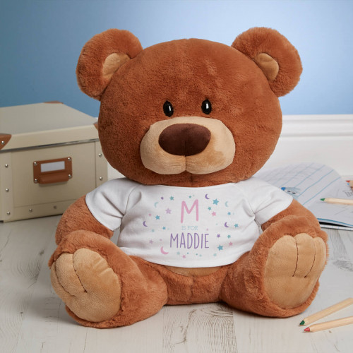 Personalised 'Moon & Stars' Caramel Charlie Bear