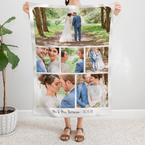 personalised Mr & Mrs 6 Photo Collage Blanket