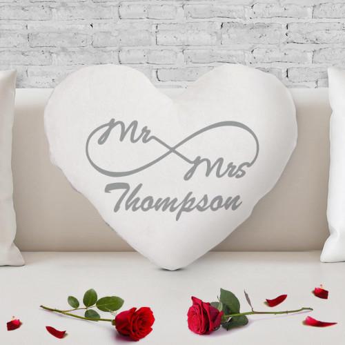 personalised Mr & Mrs Eternity Heart Shaped Cushion