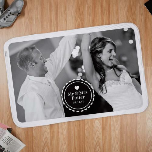 personalised Mr & Mrs Wedding Date Photo Blanket