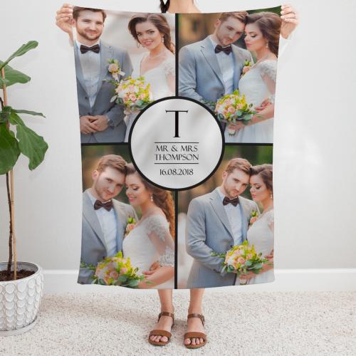 Mr & Mrs Wedding Photo Blanket