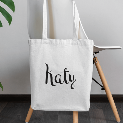 personalised Name Canvas Tote Bag