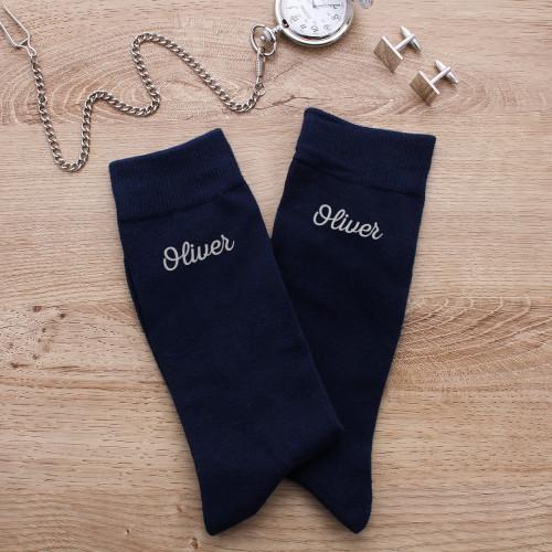 personalised navy name sock