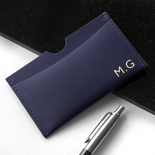 personalised Leather Card Holder - Navy