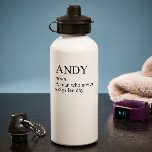 personalised never misses leg day white water bottle