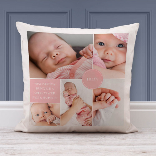 """personalised New Baby Collage Photo Cushion (White) 18x18"""""""
