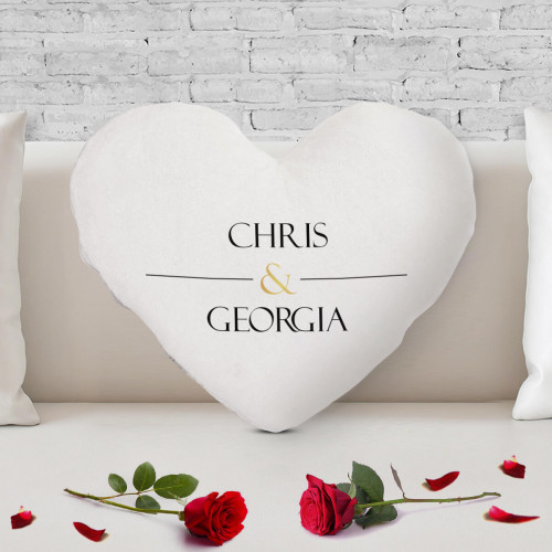 personalised Gold Ampersand Heart Shaped Cushion
