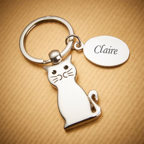 personalised Sitting Cat Keyring