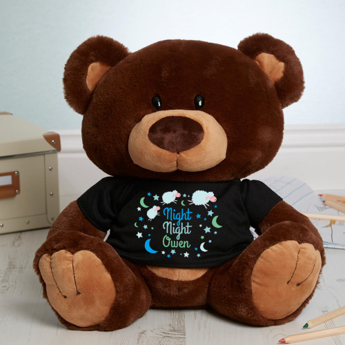 personalised 'Night Night' Caramel Charlie Teddy Bear