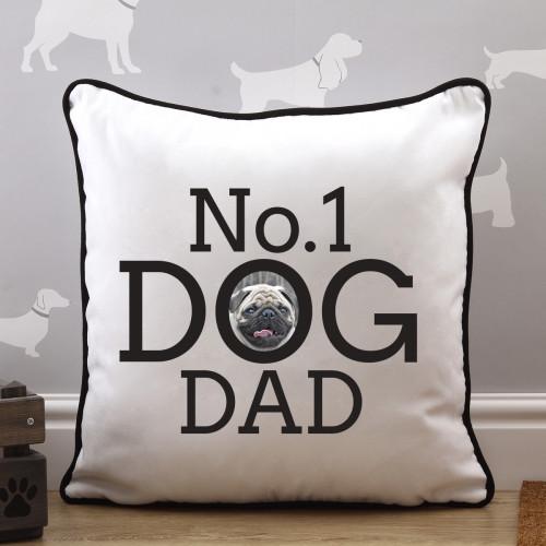 personalised No1 Dog Dad Piped Photo Cushion