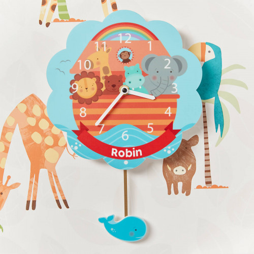 personalised Noah's Ark Pendulum Clock