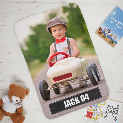 Number Plate Kids Photo Blanket
