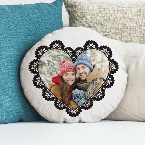 "personalised Ornate Heart Round Photo Cushion 18"""