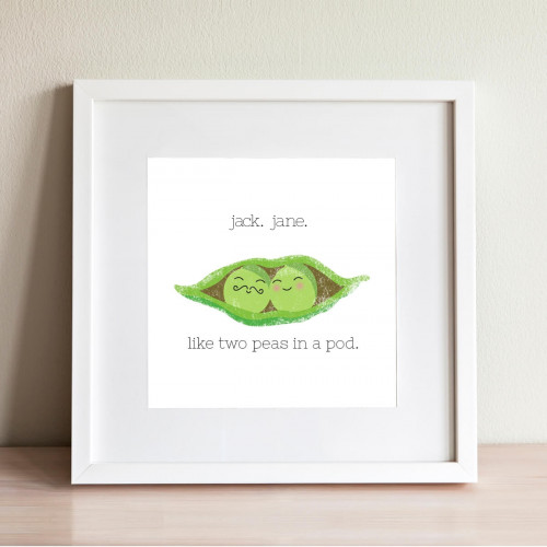 personalised Like Two Peas in a pod Wall Art