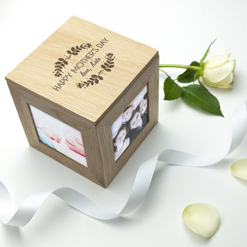 personalised Mother's Day Oak Photo Cube