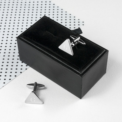 personalised Triangle Rhodium Plated Cufflinks