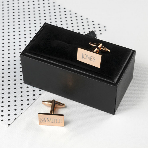 personalised Rose Gold Plated Rectangle Cufflinks