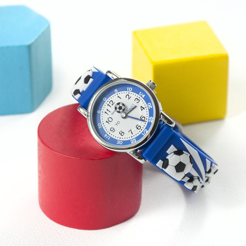 personalised Kids Blue Football Watch