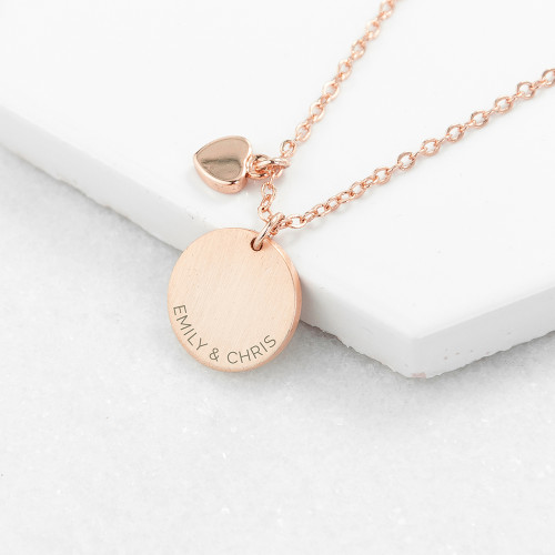 personalised Heart and Disc Necklace