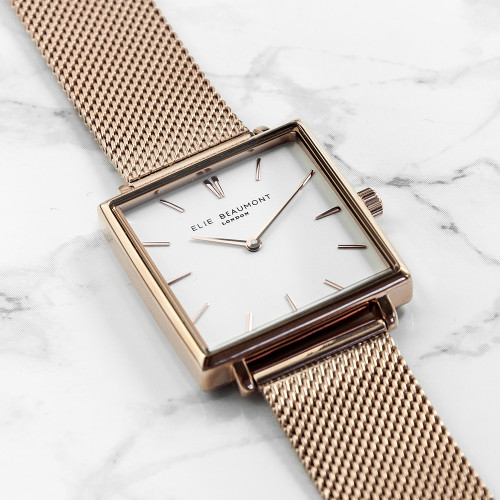 personalised Rose Gold Square Elie Beaumont Metallic Watch