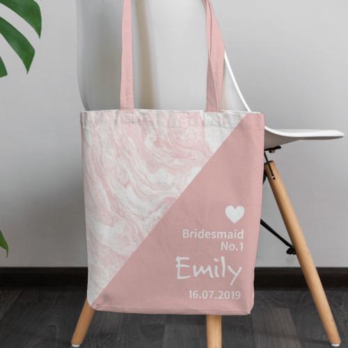 personalised Pink Bridesmaid Marble Canvas Tote Bag