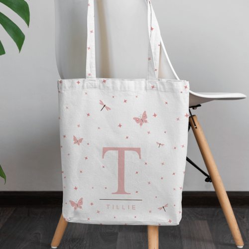 personalised Pink Butterflies Canvas Tote Bag