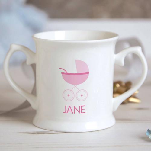 Personalised Baby Girl Pram Christening Mug