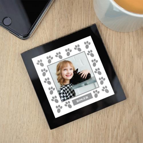 personalised Rabbit Paw Border Black Glass Photo Coaster