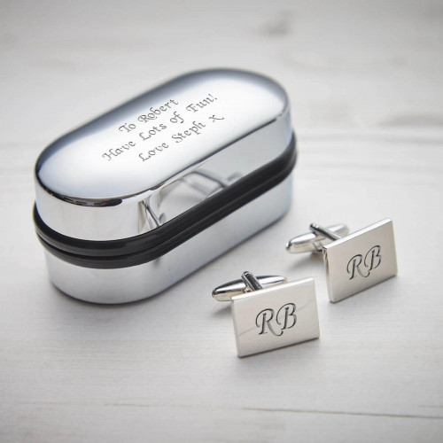 Personalised Rectangle Silver Finish Cufflinks