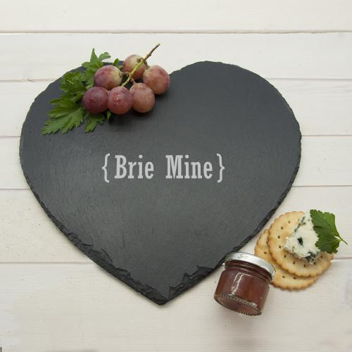 personalised Romantic Brackets Heart Slate Cheese Board