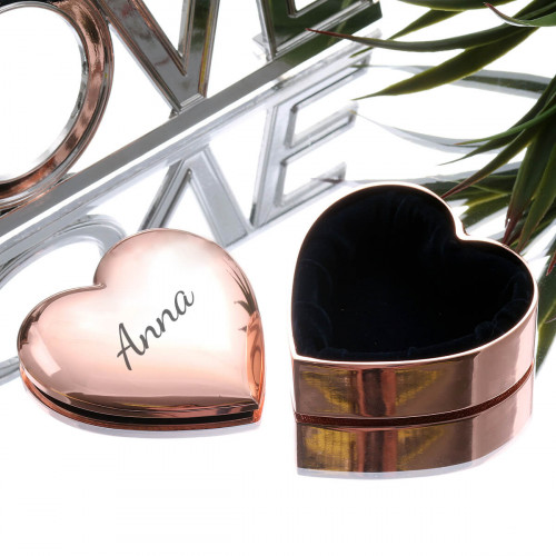 personalised rose gold heart shaped trinket box