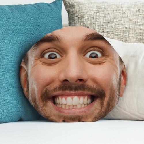 "personalised Man Face Round Photo Cushion 18"""