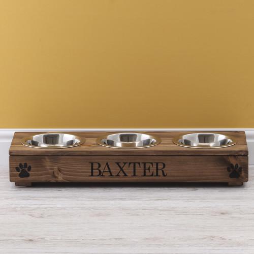 personalised rustic triple pet feeder