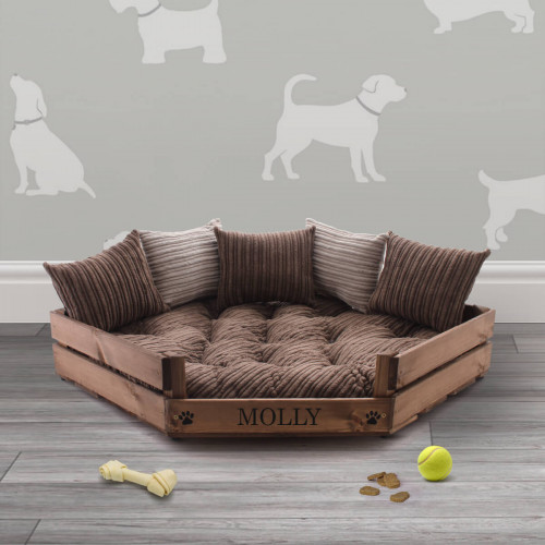 personalised luxury rustic wooden pet bed