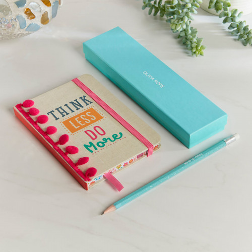 personalised Think Less Do More Notebook Gift Set