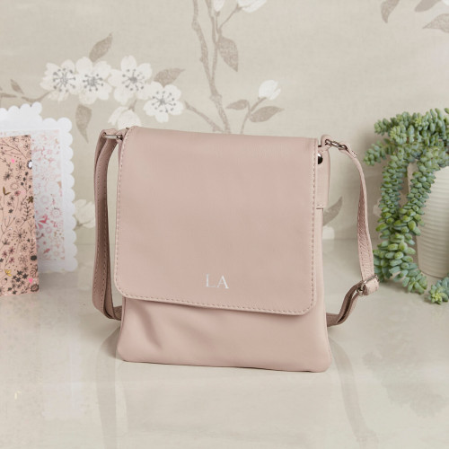 personalised Leather Crossbody Bag pink