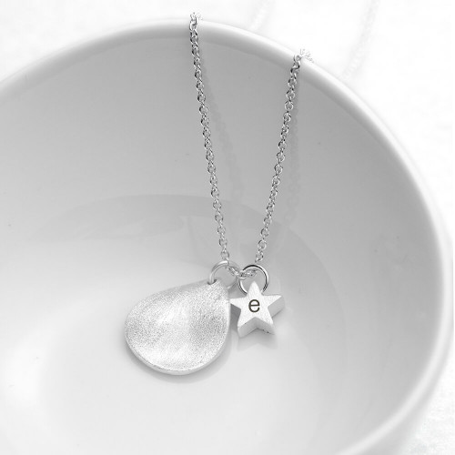 personalised Star and Drop Necklace Silver