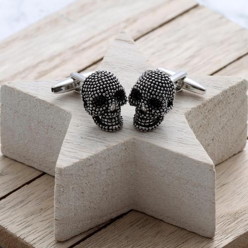 personalised 3D Skull Cufflinks Gift Set