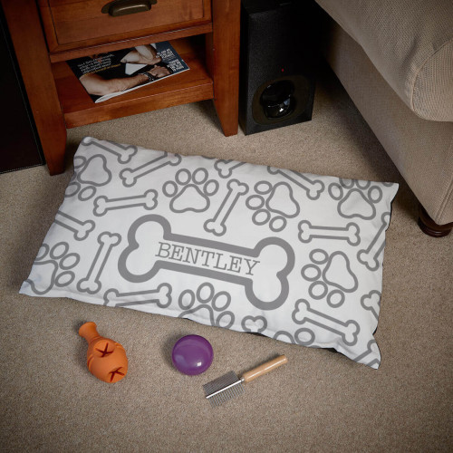 personalised Paw Bone Pattern Dog Bed