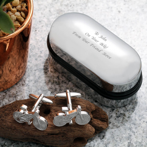 personalised Bicycle Cufflinks Gift Set