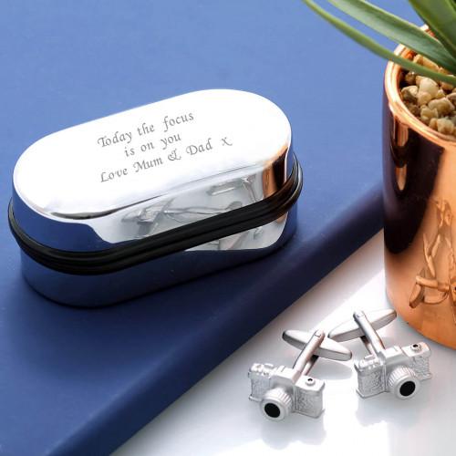 personalised Camera Cufflinks Gift Set
