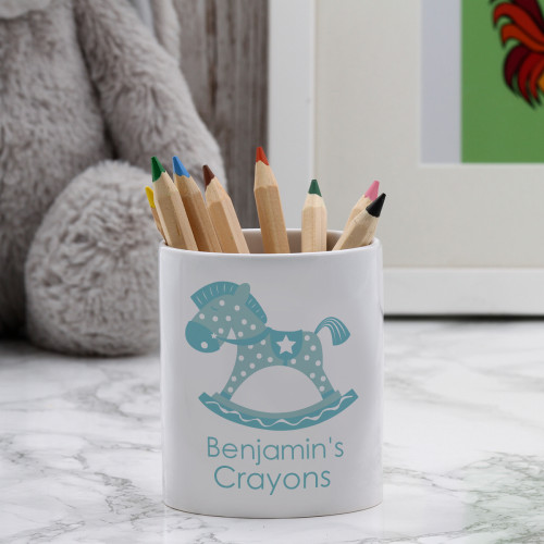 personalised Blue Rocking Horse Pen Pot